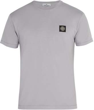 Stone Island Logo Applique Cotton T Shirt - Mens - Purple