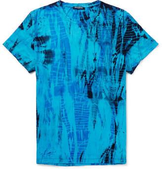 201821c3211 Balmain Slim-Fit Distressed Tie-Dyed Cotton-Jersey T-Shirt