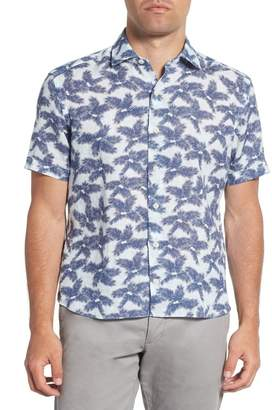 Culturata Trim Fit Palm Print Linen Sport Shirt