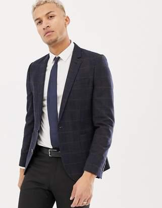 Asos Design DESIGN skinny blazer in wool mix with dark green tartan check