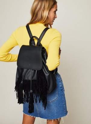 Miss Selfridge Fringe backpack black
