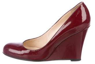 Christian Louboutin Round-Toe Patent Leather Wedges