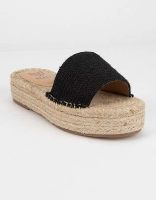 Beast Fashion Tia Black Espadrille Flatform Sandals