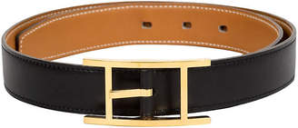 One Kings Lane Vintage HermAs Simple Black & Gold Belt - Vintage Lux