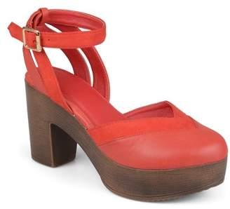 Brinley Co. Womens Faux Leather Faux Suede Ankle Wrap Platform Heels