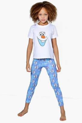 boohoo Girls Disney OLAF Tee + Legging Nightwear Set