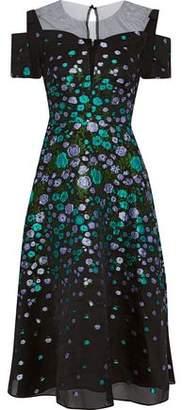 Lela Rose Cold-Shoulder Tulle-Paneled Silk-Blend Cloque-Jacquard Midi Dress