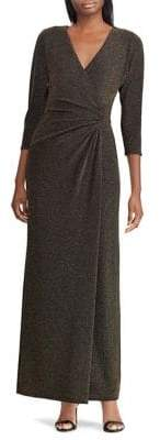 Lauren Ralph Lauren Metallic Jacquard Wrap Dress