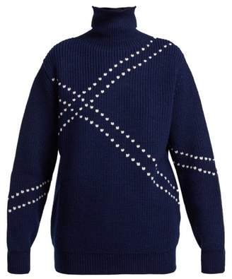 Raf Simons - Stitched High Neck Wool Sweater - Womens - Navy White