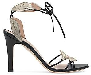 Gucci Women's Leather Sandals With Leaf Details