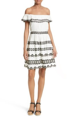 Women's Alice + Olivia Rozzi Off The Shoulder Dress $495 thestylecure.com