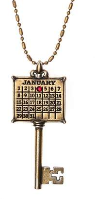 Personalized Brasstone Calendar Key Pendant w/Chain