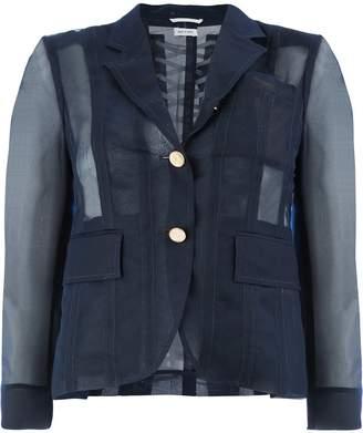 Thom Browne back lace-up sheer blazer