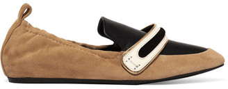 Lanvin - Suede And Leather Slippers - Sand $625 thestylecure.com