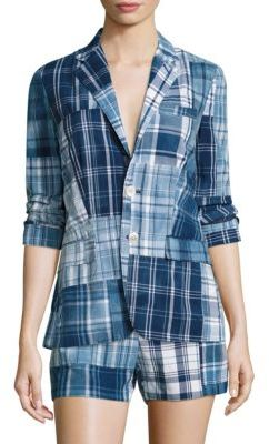 Polo Ralph Lauren Patchwork Cotton Madras Blazer $498 thestylecure.com