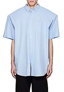 Vetements Men's Biker Padded Cotton Oversized Shirt-Lt. Blue