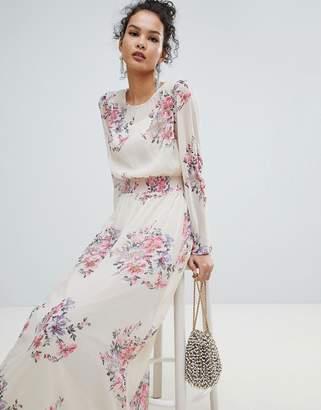 Miss Selfridge High Neck Floral Mesh Maxi Dress