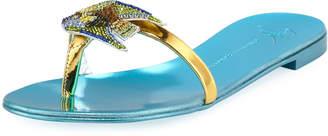 Giuseppe Zanotti Flat Slide Sandal with Jeweled Fish