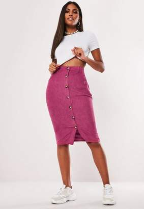Missguided Pink Cord Button Detail Midi Skirt