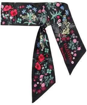 Valentino Floral-Print Silk-Satin Twill Scarf