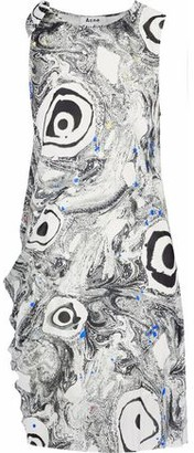 Acne Studios Bow-Detailed Printed Silk-Satin Dress