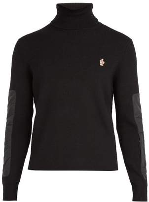 Moncler Logo Embroidered Roll Neck Wool Blend Sweater - Mens - Black