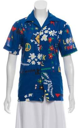 Pharrell Williams x Adidas Printed Button-Up Top
