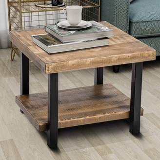 Harper & Bright Designs Harper&Bright Designs Industrial Square Pine Wood End Table, Rustic Design
