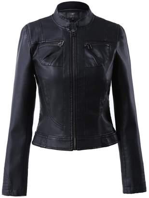 Moto LingLuoFang LLF Women's Faux Leather Simple Biker Jacket (Label 46) White (16b1629)