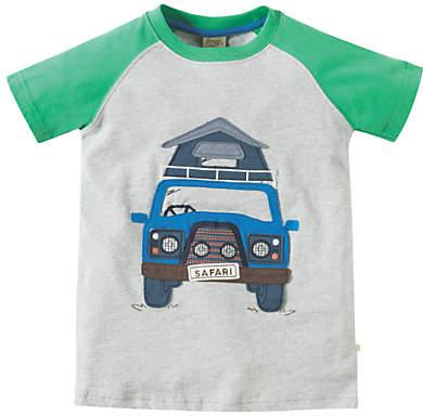 Frugi Organic Boys' Truck Applique Raglan T-Shirt, Grey Marl/Green