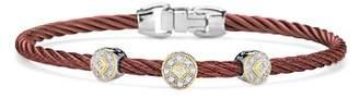 Alor Three-Station Burgundy Cable Bangle Bracelet With Diamonds