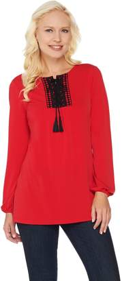 Susan Graver Liquid Knit Long Sleeve Tunic with Crochet Trim
