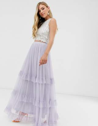 Lace & Beads maxi tulle skirt
