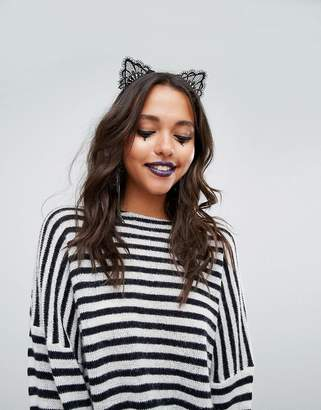 Missguided Halloween Lace Cat Headband