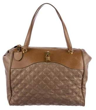 Marc Jacobs Leather-Trimmed Quilted Coated Canvas Tote