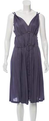 Lanvin Silk Pleated Dress Purple Silk Pleated Dress