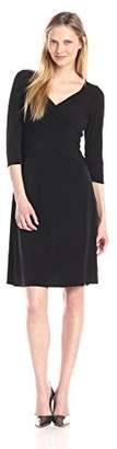 NY Collection Women's B-Slim Three-Quarter Sleeve Cross-Front Dress