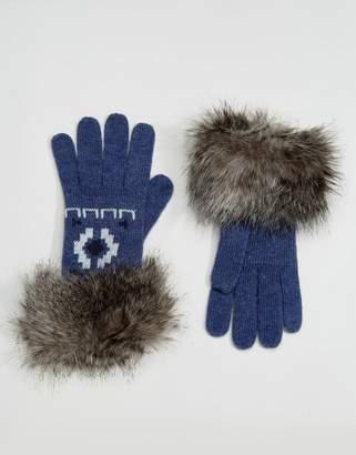Alice Hannah Motif Fur Trim Glove