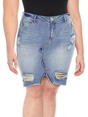 Jessica Simpson Plus Adorn High-Rise Ripped Denim Skirt