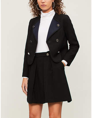 Claudie Pierlot Volcano double-breasted cropped crepe blazer