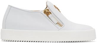 Giuseppe Zanotti White Leather London Slip-On Sneakers $650 thestylecure.com