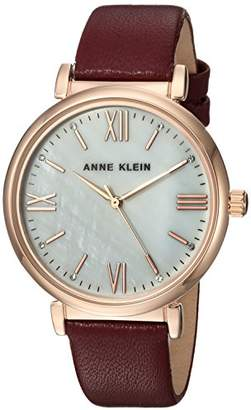 Anne Klein Women's Swarovski Crystal Accented Rose Gold-Tone and Burgundy Leather Strap Watch