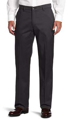 Lee Men's Comfort Waist Custom Relaxed Fit Flat Front Pant, Mid-Khaki