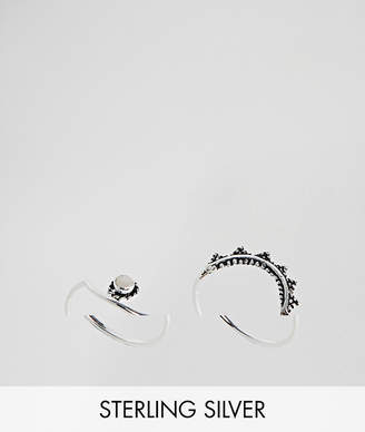Asos (エイソス) - ASOS DESIGN pack of 2 sterling silver moonstone and engraved stacking rings