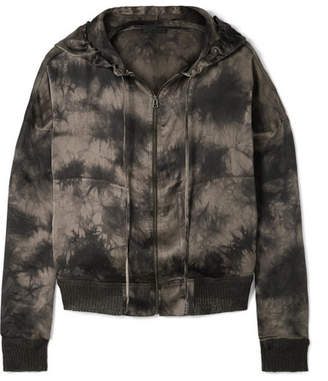 ATM Anthony Thomas Melillo Tie-dyed Crinkled Silk-charmeuse Hooded Top - Black