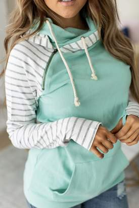Ampersand Avenue Baseball DoubleHood Sweatshirt - Mint to Be