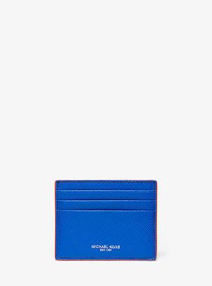 Michael Kors Harrison Tall Contrast-Trim Crossgrain Leather Card Case