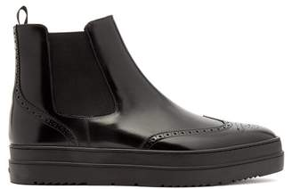 Prada - Raised Sole Leather Chelsea Boots - Mens - Black