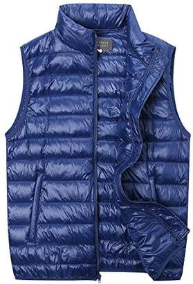 The Plus Project Men's Plus Size Quilted Down Vest with Stand Collar 3X-Large