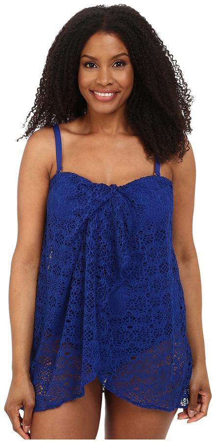 Lauren Ralph LaurenLAUREN Ralph Lauren - Plus Size Draped Crochet Flyaway Strapless One-Piece w/ Molded Cup Women's Swimsuits One Piece